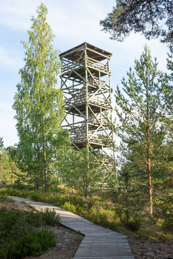 Beauty In Nature Building Exterior Built Structure Day Direction Forest Grass Green Color Growth Hiking Trail Land Lookout Point Lookout Tower Nature Nature Trail No People Outdoors Sky The Way Forward Tolkuse Raba Tower Tree Wood - Material