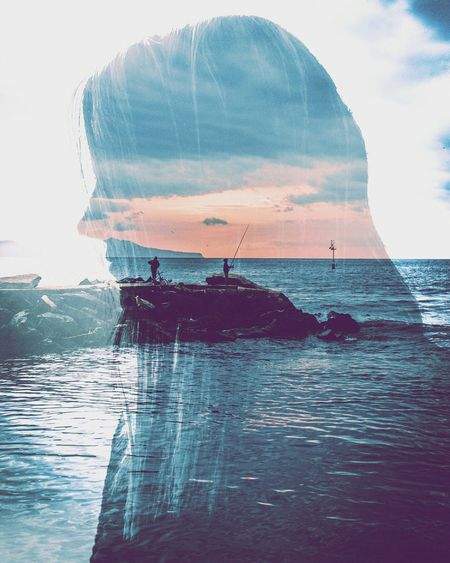 Double Exposure Girls Silouette Sea Landscape Cityscapes Sea And Sky Sunset Love People Vscocam Vscogood Vintagefilter