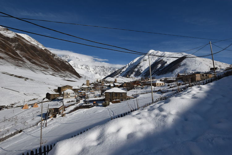 Winter in ushguli in the caucasus mountains in samegrelo-zemo svaneti region, georgia