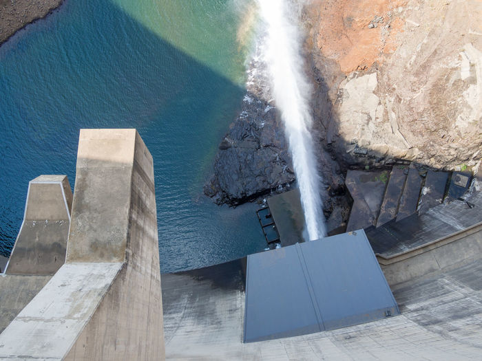 High angle view of katse dam hydroelectric power plant in lesotho, africa