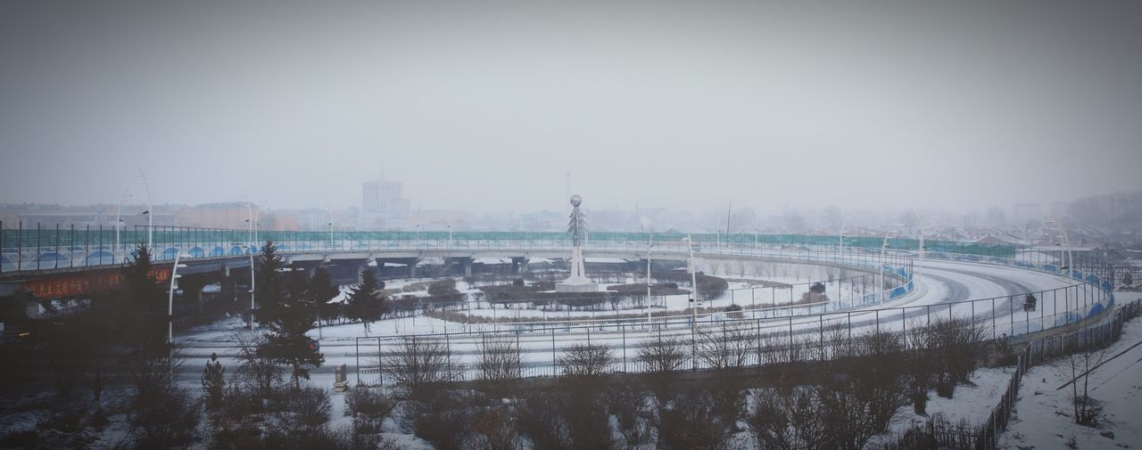 Flyover Snowy Gloam Cirle Bridge Inner Mongolia