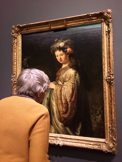 Rembrandt's Flora Rear View Real People Standing Traditional Clothing Indoors  Togetherness Men Lifestyles Women Day Young Women Young Adult People Travel Destinations Travel Photography Travel Art Painting Rembrandt Hermitage Amsterdam Hermitage Fashion Stories
