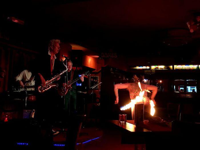 Nightclub People Nightlife Music Jazz Music Performance Group Burlesque Jazzband Fire Show Performing Bar - Drink Establishment Illuminated Night City