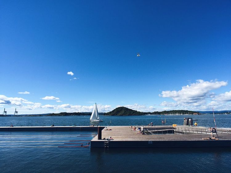 Oslo fjord and harbor, Sørenga new neighborhood Oslo Oslo Norway Oslo, Norway Oslofjord Norway Norway🇳🇴 Sørenga Fjord Harbor Island Water Sea Sky Blue Architecture Blue Sky Sunny Day Summer Summertime Scenics Sailing Beach Sailboat Outdoors Beauty In Nature