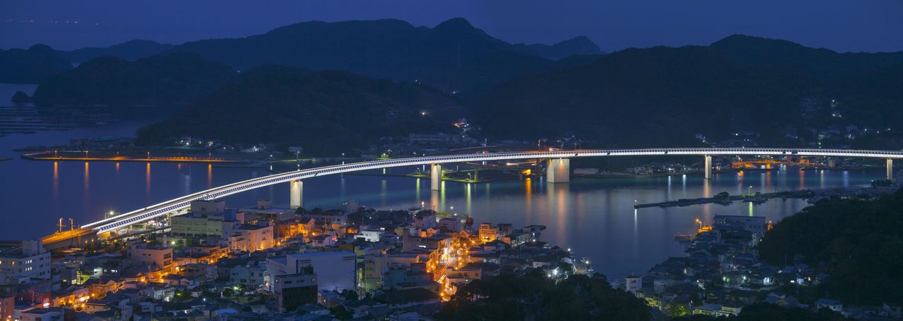 bridge in japan amakusa Architecture Bridge - Man Made Structure Building Exterior Built Structure City Connection Dusk Illuminated Mountain Mountain Range Nature Night No People Outdoors Plant River Scenics - Nature Sky Transportation Tree Water