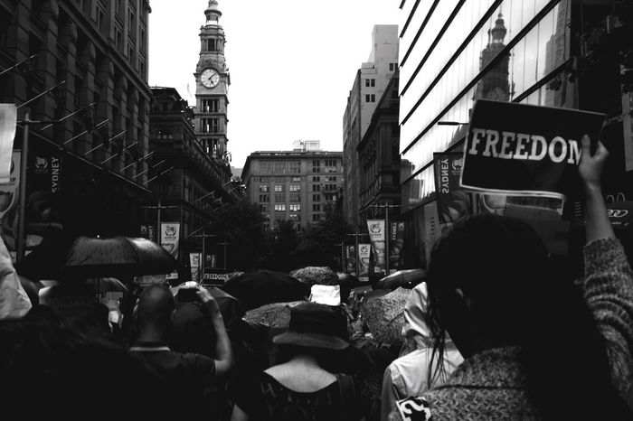 Marching in memory of the French terrorist attacks. Open Edit Jesuischarlie Photojournalism Sydney Blackandwhite
