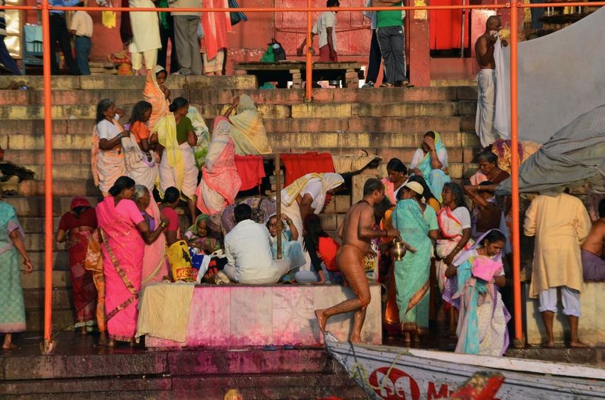 Bathing Ceremony City Crowd Day Ganges Ganges River Holy India Indian Culture  Outdoors Real People Religion Sari Steps Steps And Staircases Tradition Varanasi