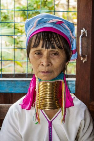 Front View Gold Colored Headshot Jewelry Long Neck Woman Looking At Camera One Person One Woman Only Portrait Real People Shan People