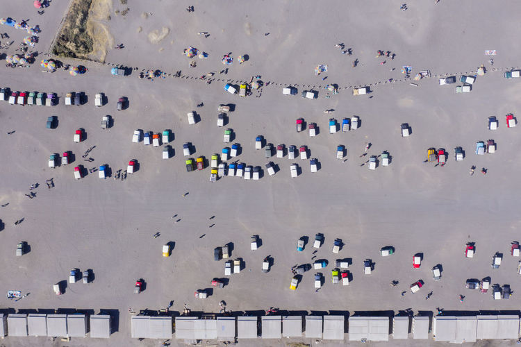 Aerial view of trucks on road
