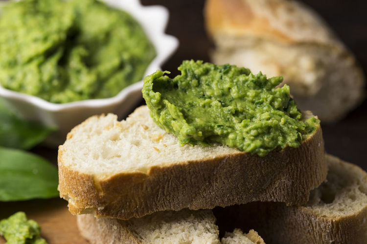 Close-Up Of Slice Of Bread And Guacamole