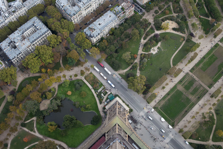 Park seen from eiffel tower in city
