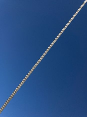 Wire line Blue Color Blue Cable Clear Sky Copy Space Day Gray Color IPhone 7 IPhone Only IPhoneography Line And Shape Low Angle View Metal Metal Cable Nature Outdoors Sky Wire Wire Line