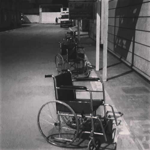 Hospital Wheelchair Emergency Department Blackandwhite 2 AM Night Empty Wheelchair