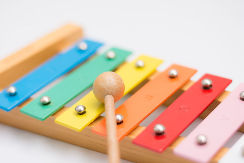 Xylophone and mallet Music Arts Culture And Entertainment Close-up High Angle View Indoors  Leisure Games Mallet Mallet Instrument Multi Colored Musical Instrument No People Percussion Selective Focus Studio Shot White Background Wood - Material Xylophone