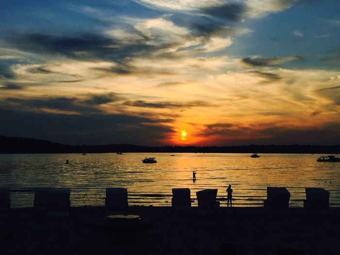 Enjoying The Sun Sunset Silhouettes Clouds And Sky Enjoying The Sun Summer Berlin Beach Sunset #sun #clouds #skylovers #sky #nature #beautifulinnature #naturalbeauty #photography #landscape Tranquility