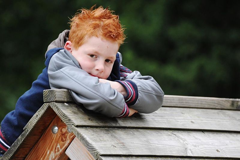 Portrait of cute boy leaning on wood