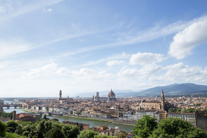 Architecture Blue Building Exterior Built Structure City Cityscape Cloud - Sky Day Dome Duomo Santa Maria Del Fiore Elevated View Historic History Mountain Range No People Outdoors River Sky Summer Town Travel Destinations Tree Tuscany Water