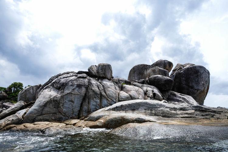 Close up large rocks at Hin Son island, Satun, Thailand Beautiful Cloudy Thailand View Beach Beauty In Nature Island Outdoors Scene Scenics Sea Stone Summer Thailandtravel Vacation