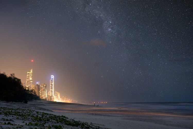 Shine Gold Astronomy Australia Beach Beauty In Nature City Galaxy Galaxy Gold Coast Landscape Milky Way Nature Night Outdoors Photography Scenics Sea Sky Space Space And Astronomy Star - Space Travel Water