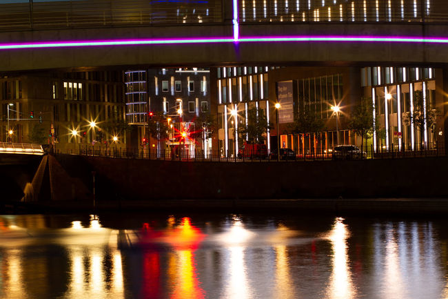 Spree lights in Berlin/Germany Reflection Night Berlin River Reflections City Modern Urban Bridge Germany Night Shot Town Night Photography Illuminated Illumination Rivers Spree Cities City View  Capital City Views Towns Night Photograph Cityscape cityscapes