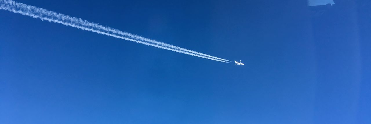 B737-800 B737ng Air Vehicle Airplane Blue Cloud - Sky Copy Space Day Directly Below Flying Low Angle View Mid-air Mode Of Transportation Motion Nature No People on the move Outdoors Plane Sky Smoke - Physical Structure Trail Transportation Travel Vapor Trail