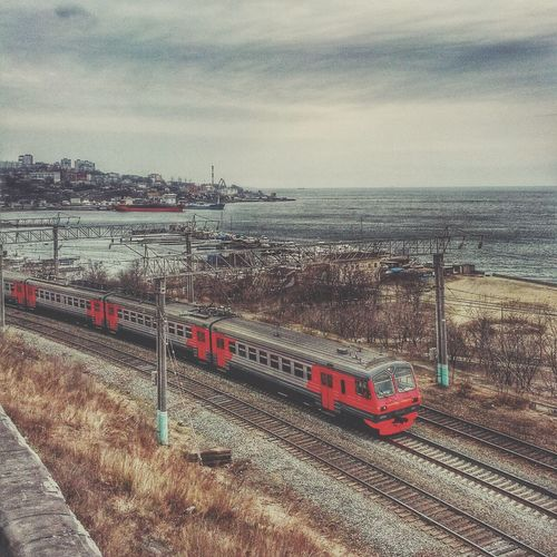 Railway near the Sea , Sea And City Train