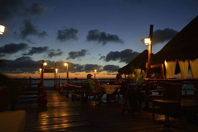 Sunset during a dinner at Navios Seafood Restaurant in Cancun, Mexico Beauty In Nature Lagoon Landscape Nature Navios Seafood Restaurant Outdoors Restaurant Sky Sunset Tranquility First Eyeem Photo