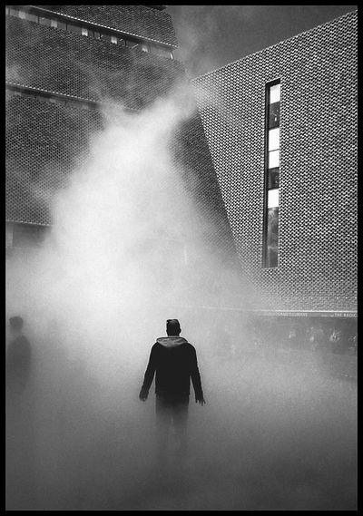 Beam me up TateModern Tate Extension Southbank London Fog Mist Art Installation B&w Lone Figure Pyramid Building Sci-fi Blade Runner Sinister Welcome To Black Postcode Postcards
