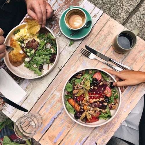 Vegan Brunch Vegan Option Brunch Food And Drink Food Human Hand Freshness Healthy Eating Human Body Part High Angle View