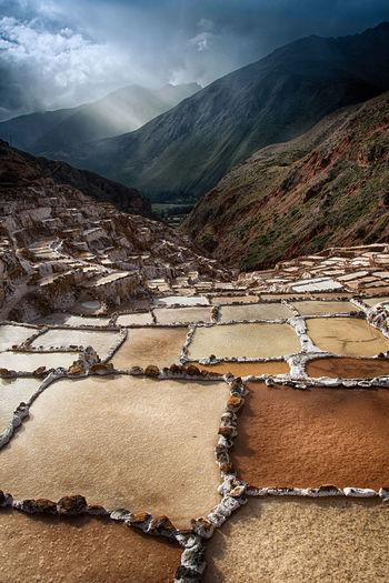 View of the inca salt ponds near maras