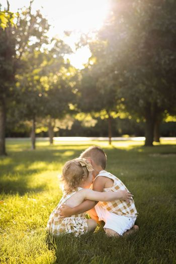 Girl and boy at park