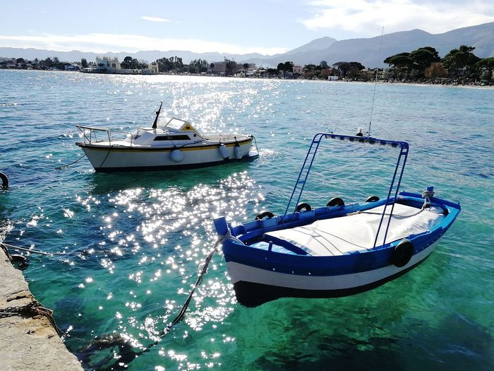 Mondello Beach Boats⛵️ Motorboat Beach Beach Life Fishboat Cool Blue Sky Nautical Vessel Water Sea Transportation Mode Of Transport Moored Nature Outdoors Sky Day No People Beauty In Nature Beach