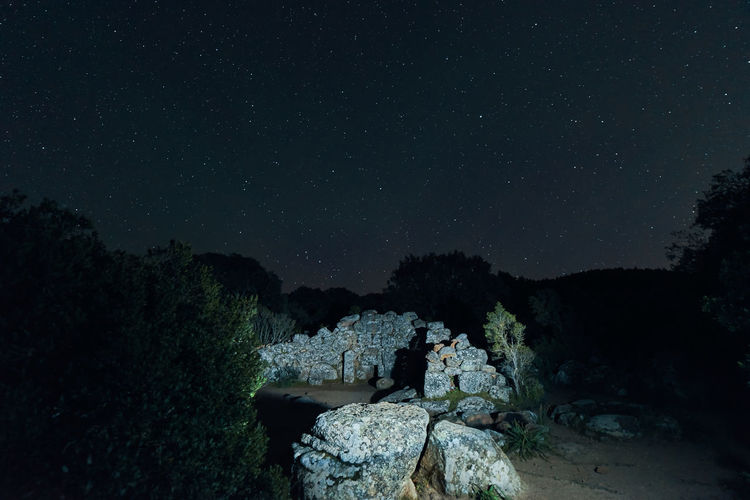 Starry night at the Tomb of the Giants, Is Concias (Quartucciu- Sardinia) Night Star - Space Sky Beauty In Nature Rock Nature Tranquility Astronomy Space No People Tranquil Scene Rock - Object Scenics - Nature Solid Star Plant Star Field Tree Outdoors Environment Tomb Ancient Architecture Sardinia Sardegna Italy