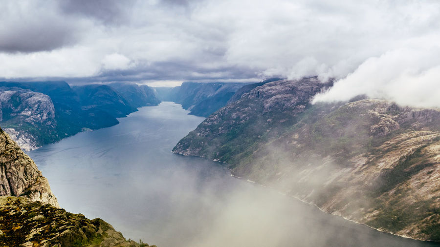Beauty In Nature Day Epic Fjord Fog Landscape Mountain Mountain Range Nature No People Norway Outdoors Preikst Pulpit Rock Scandinavia Scenics Sky Tranquil Scene Tranquility Water