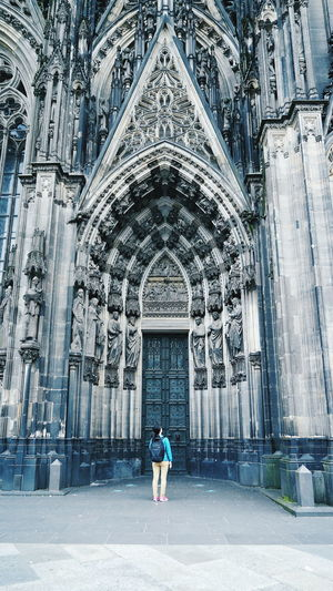 Rear view of woman at cologne cathedral