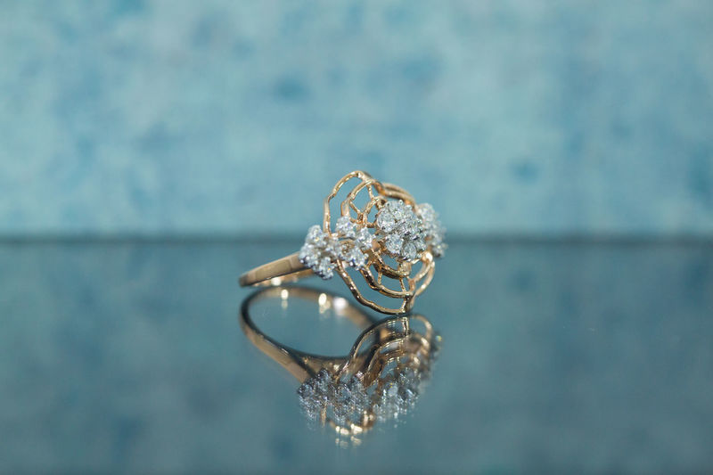 Diamond jewellery ring reflection photography
