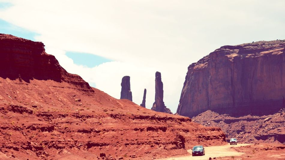 Three Sisters Summer Road Tripping Desert Red Arid Climate Mountain Rock - Object Sunset Ancient Sand Sky Landscape Eroded Geology Natural Landmark Arid Landscape
