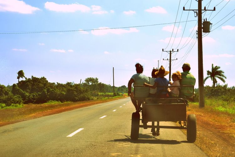Tourism Road Transportation Lifestyles Countryside Country Road Cuba Cuban Road Cuban Life Rural Road Cart Rural Family