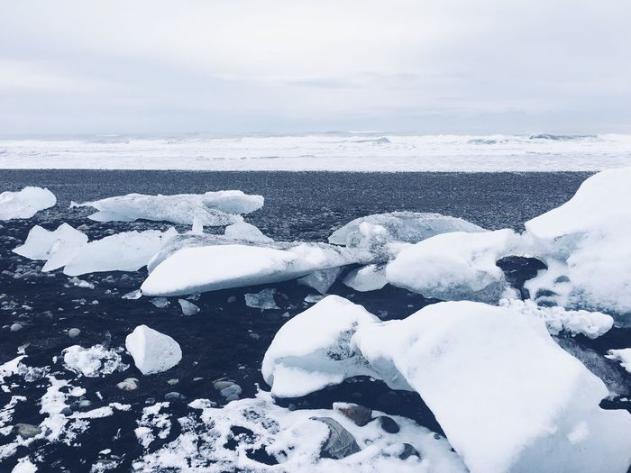 Scenic view of frozen sea against sky