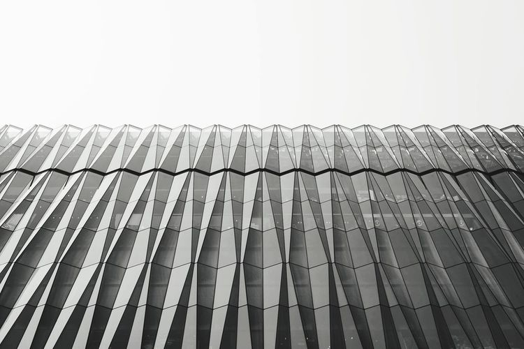 Blackandwhite Geometric Shapes Geometry Glass Glass Shape Design Exterior Building Exterior Buildings Sky Low Angle View Pattern No People Clear Sky Architecture Built Structure First Eyeem Photo