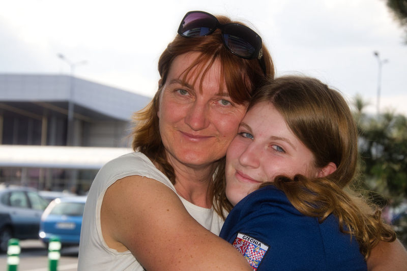 Goodbye ahead of the long way at Václav Havel Airport in Prague. Mother And Daughter Daughter Emotion Long Way Real People Sad Smile Sadness In The Eyes Togetherness Women