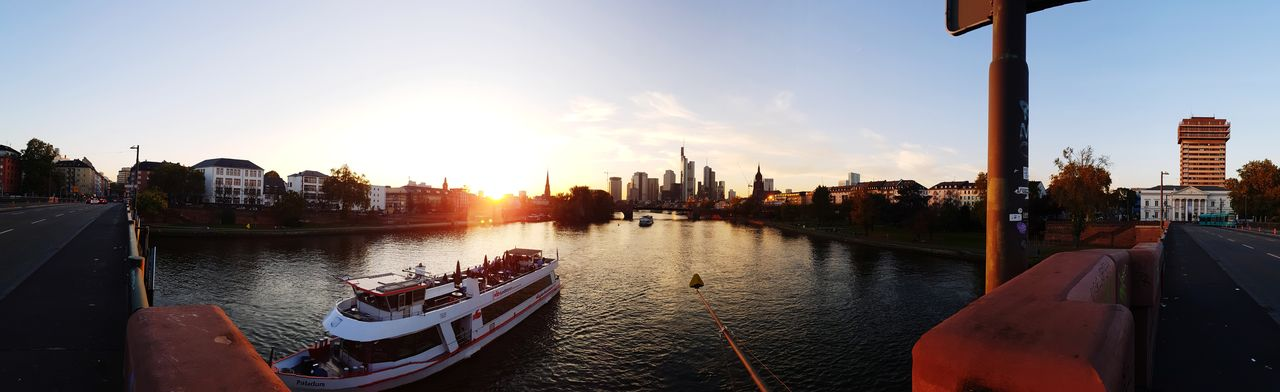 Frankfurt Skyline Sunset Panoramicshot Sunset City SkyNo People Outdoors Architecture Water Travel DestinationsStadtansichten Skyscraper Panoramic Cityscape Nautical Vessel Urban Skyline Built Structure Building Exterior Day Frankfurt Am Main Frankfurt City Life River