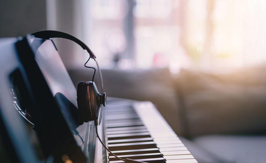 Close-up of piano keys at home