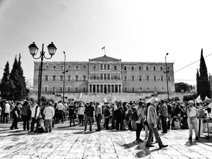 Greek Parliament Syntagma Square Athens Athens, Greece Real People Protest Against Poverty April 2016 Strike! Streetphotography Street Photography Black & White Blackandwhite Black And White Blackandwhite Photography