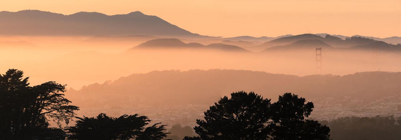 Panoramic views of the golden gate bridge, marin headlands, and mt tam via twin peaks