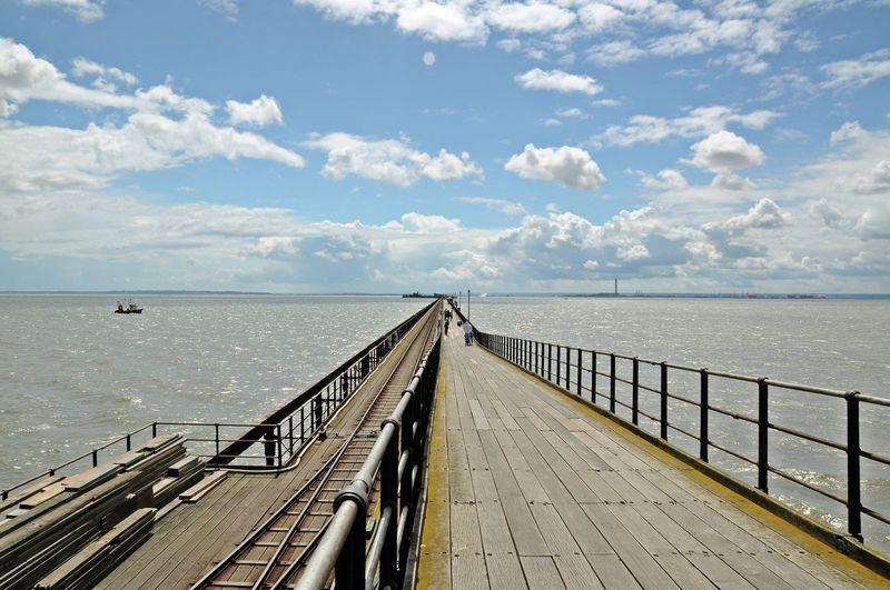 Pier above sea against sky