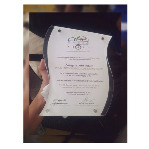 Another plaque of recognition. ArSoc 'yan, e! Fasia2015