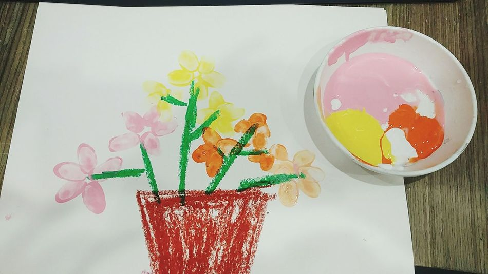 Hope you have a young heart. Drawing Draw Paint Crayon Crayon Art Child Art Child Child Drawing Color Colors Colorful Happy Flower Flowers Plant Thumbsucker Multi Colored Powder Paint Pastry Face Powder