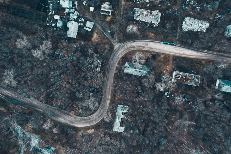 High angle view of old car on road