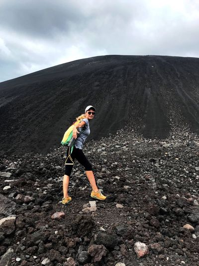 Nicaragua Cerro Negro Volcano VolcanoBoarding Women Extreme Sports Volcanic Landscape Boarding Adventure Adrenaline Junkie Determination Energetic Mountain One Person Volcanic Rock Cloud - Sky Nature Outdoors Leisure Activity Full Length Physical Geography Volcanic Crater Scenics Standing Lava